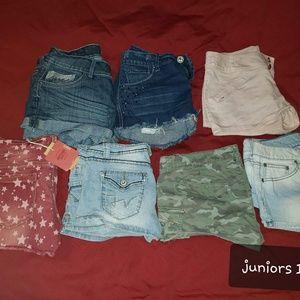 Lot of 7 pair jean shorts size 11 juniors
